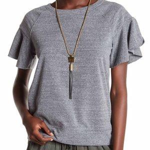 Short sleeve ruffle sleeve sweatshirt